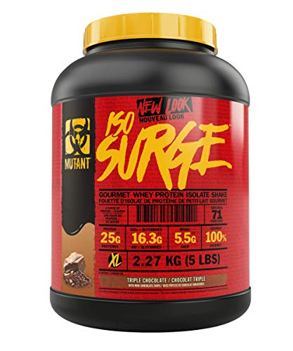 MUTANT ISO SURGE – Pure whey protein Isolate powder, low carb, low fat, digestive enzyme boosted - Triple Chocolate - 2.27 kg