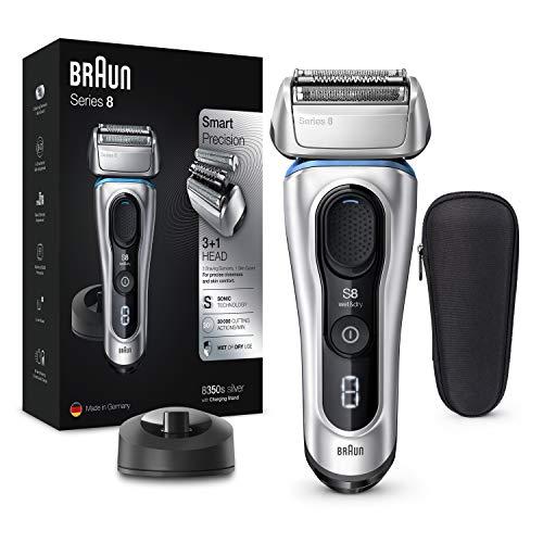 Braun Series 8 8350s Afeitadora Eléctrica Hombre De Nueva Generación, Para Barba, Recargable Inalámbrica, Base De Carga, Funda Para Viaje, Color Plata
