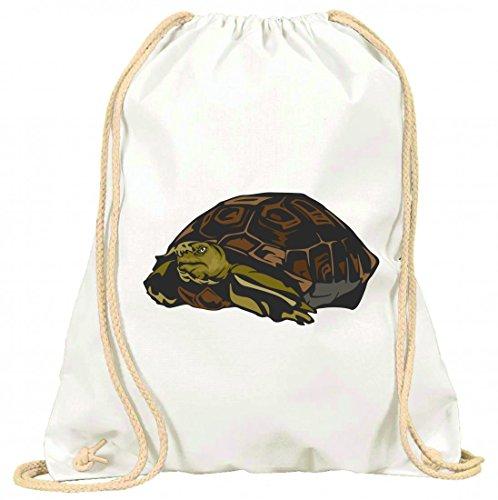 'Turn Bolsa 'Tortuga Agua Estanque mascotas Tortuga Animales con cordón–100% algodón de bolsa Con Asas De Mochila de bolsa de deporte, Weiß