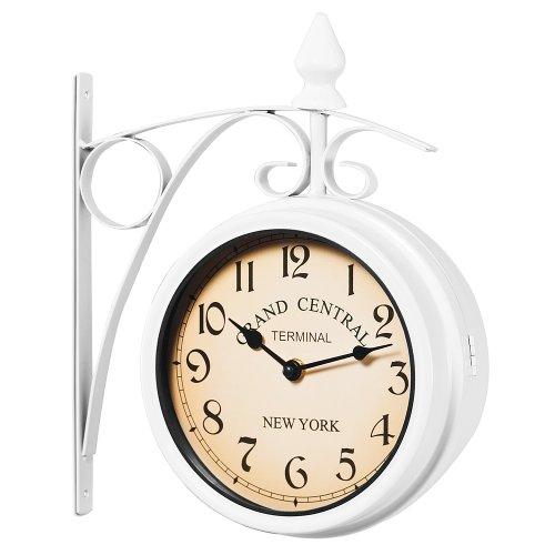 Deuba Bahnhofsuhr Doppelseitig Retro Vintage Stil Schmiedeeisern 2 Quarz Uhrwerke Ziffern Groß Wanduhr Bahnhofs Uhr – Weiß
