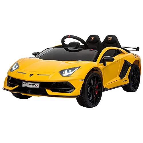 HOMCOM Kinderauto Kinderfahrzeug für 3-8 Jahre Elektroauto mit Fernsteuerung MP3/USB Licht Musik Kunststoff Metall Gelb 123 x 66,5 x 45,5 cm