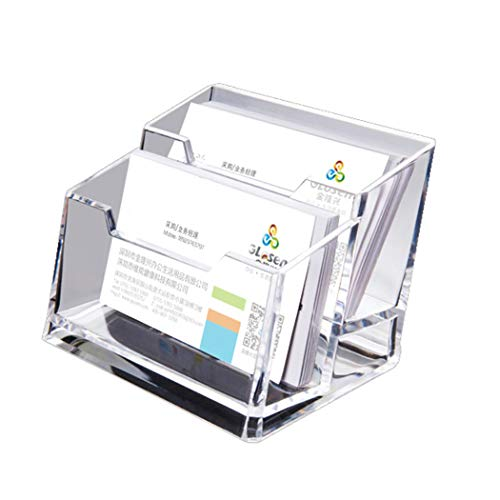 Acryl-Visitenkartenhalter , Digead 2 Gitter Transparenter Visitenkartenhalter für den Schreibtisch/the helpdesk Hartschalen-Visitenkartenständer