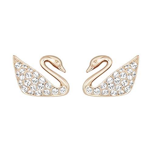 Swarovski Orecchini Swan da Donna, Placcato Oro , Rosa