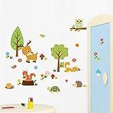 Pegatinas decorativas de animales del bosque de dibujo animado para pared, habitaciones infantiles, salón, pegatinas de papel pintado, habitación de los niños, fondo para decoración del hogar