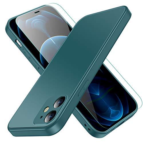 Jonwelsy Funda para iPhone 12, Lujo Suave Silicona Liquida Shockproof Proteccion Carcasa de Telefono + Mate Vidrio Templado Contraportada Case Cubierta para iPhone 12 (6,1 Pulgada) (Verde Noche)