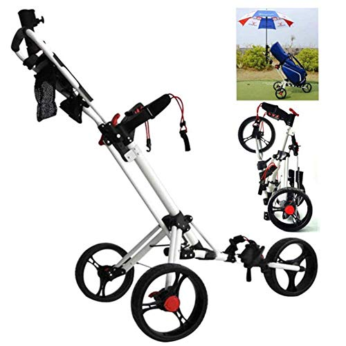 Best Review Of LUSHUN 3 Wheel Push Pull Golf Steel Frame Cart, Golf Trolley with Adjustable Handle A...