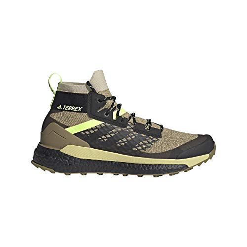 adidas Męskie buty Terrex Free Hiker Primeblue Walking, beżowy - Savannah Core Black Hi Res Yellow - 45 1/3 EU