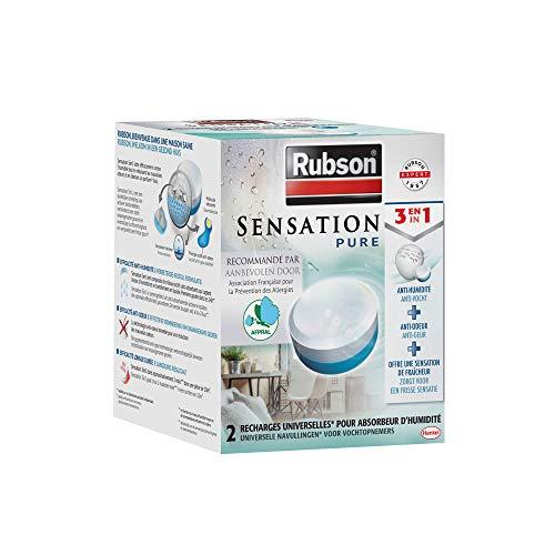 Rubson Sensation Pure, 2 Recharges universelles de 300 gr pour absorbeur d'humidité, Recharges 3-en-1 anti-humidité & anti-odeur et qui offrent une sensation fraîche, parfum neutre