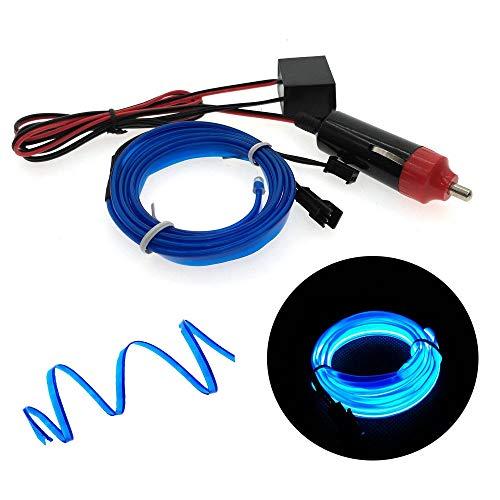 Autoscheinwerfer, 6mm Nahtkanten Neonröhren, Auto dekorative Beleuchtung, flexible EL Drahtseils Lampen, LED-Streifen Zigarettenanzünder-Stecker (Color : 2M With Car Plug)
