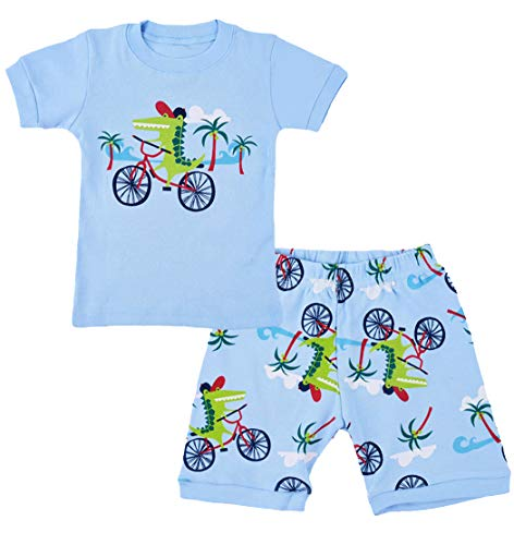 EULLA Schlafanzug Jungen Kurz Sommer Zweiteiliger Pyjamas Nachtwäsche Baumwolle Dinosaurier Bagger Flugzeug Kurzer Kinderschlafanzug 2-blaues Krokodil DE 92