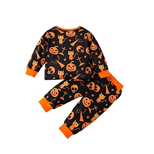 Conjunto de pijama para bebé y niña con estampado de fantasma, juego de pijama de 2 piezas, camiseta de manga larga + pantalones largos de cintura elástica para niñas y niños, naranja, 18-24 Meses