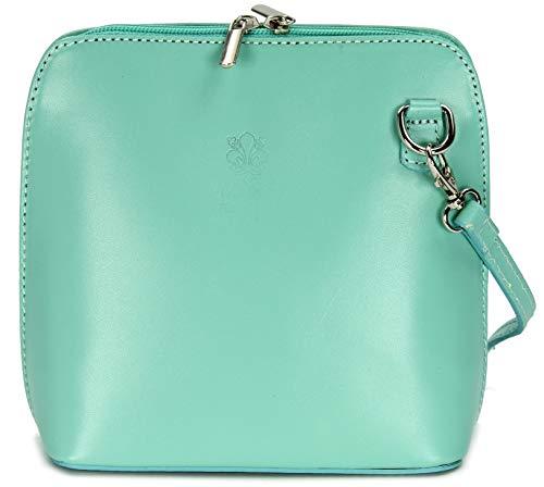 Belli ital. Ledertasche Damen Umhängetasche Handtasche Schultertasche - 17x16,5x8,5 cm (B x H x T) (Mintgrün)