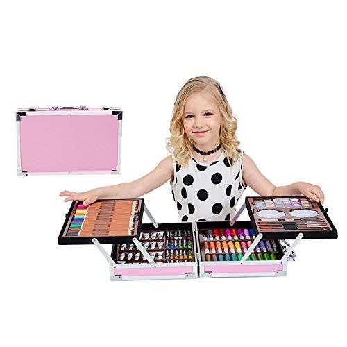 Holzsammlung Set di Matite da Disegno 200 Piece Creativity Art Set for Kids Disegno e Pittura Set Pennarelli Matite Pastelli Colorati, Set Kit Creativo per Disegnare e Colorare - Rosa