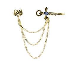 Gold Flying Skull and Rhinestone Sword Collar Brooch