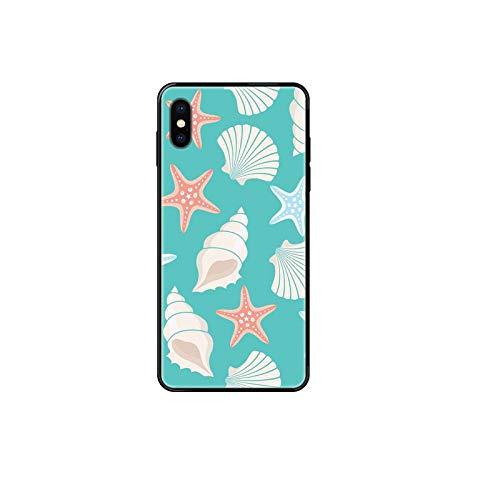 Para iPhone 11 12 Pro X XR XS MAX 5 5S 5C SE 6 6S 7 8 Plus negro suave TPU impresión caso pastel playa mar conchas imagen 1-iPhone X XS