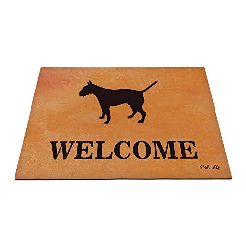 MALIHONG Dog Welcome Door Mat Bull Terrier Silhouette Puppy Doormat for Home Decor 35.4 x 23.6 Inch