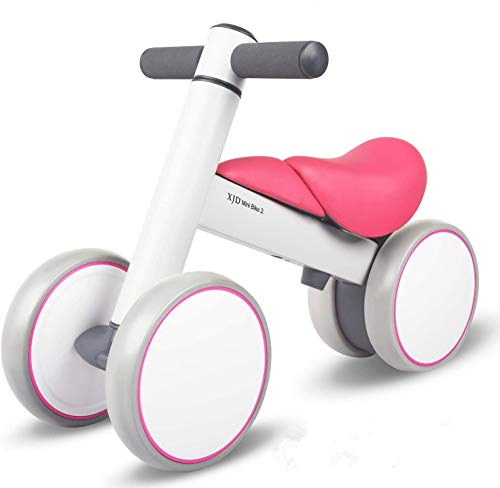 XJD Biciclette Senza Pedali per Bambini(10-36 Mesi)con 4 Ruote Ultraleggera e Primo Giocattolo per Bici per i più Piccoli Baby Balance Bike(Rosa)