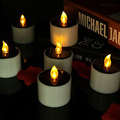 UONLYTECH 1 candela a LED solare senza fiamma, impermeabile, giallo sfarfallio, a energia solare, per decorazione della casa (bianco)