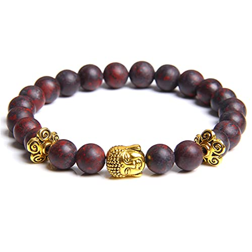 Buddha Head Bracelets Men Vintage Elastic Prayer Jewelry Natural Chakra Tiger Eye Stone Beads Bangle Gold Charm (Length : 19cm, Metal Color : Bloodstone)