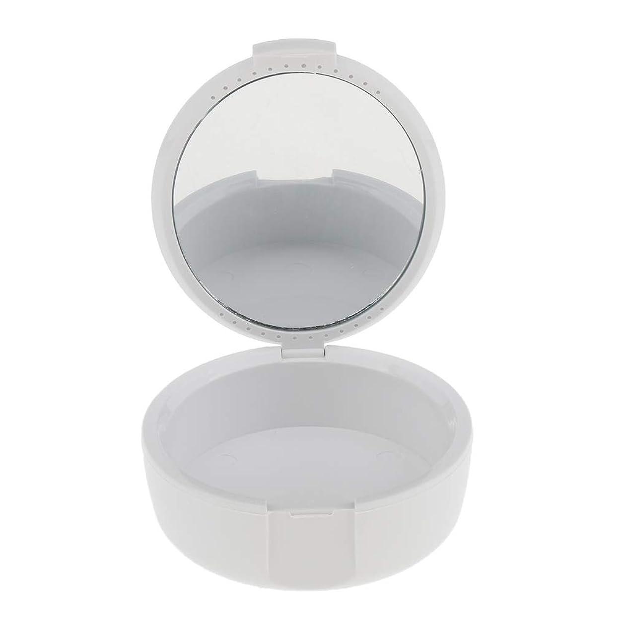 交差点リングバック滑りやすいD DOLITY 義歯ケース マウスガードケース ミラー付き 便利 2色選べ - 白