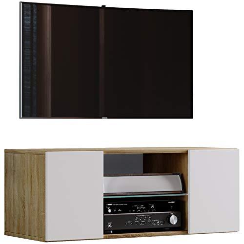 """VCM TV Schrank Lowboard Tisch Board Fernseh Sideboard Wandschrank Wohnwand Holz Sonoma-eiche/Weiß 40 x 95 x 36 cm \""""Jusa\"""""""