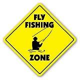 HSSS Lustiges Schild mit Fliegenfischen Zone, lustiges Fliegenfischen, Angelrute zum Binden, für...