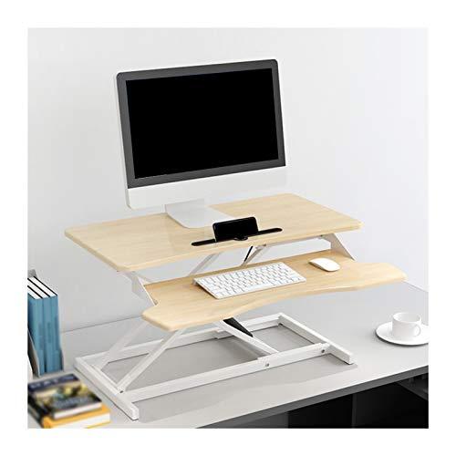 YJFENG Höhenverstellbar Stehpult Konverter, Mit Unabhängiger Tastaturablage, 1,5 cm Riser-Plattform Tragfähigkeit 15kg, Für 150-185cm Personal (Color : Wood, Size : 80x64x13-51cm)