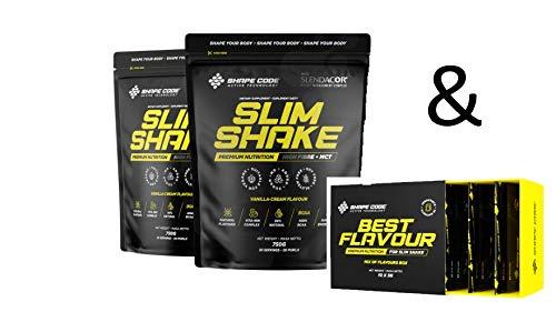 SHAPE CODE Set - Set para una figura bonita y delgada - Shake de vainilla Slim Shake - 2 x 750 g + juego de aroma
