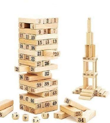 TEMSON 51 Pcs Blocks 4 Dices Wooden Tumbling Stacking Building Tower Game