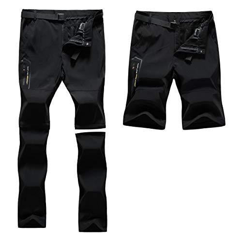Pantalones de Trekking de Primavera y Verano para Hombres, Pantalón Cortos de Funcionales, Pantalones Escalada al Aire Libre, Senderismo, Montañismo