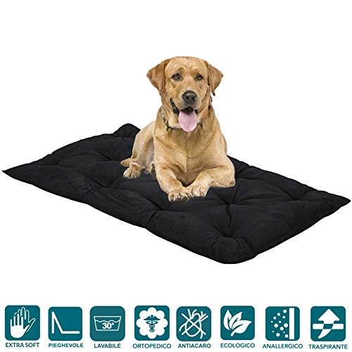 Evergreenweb hondenbed voor honden, wasbaar, 8 cm, multifunctionele matras, orthopedisch kussen, zacht, voor alle huisdieren, 65 x 85 cm Taglia Media, zwart.