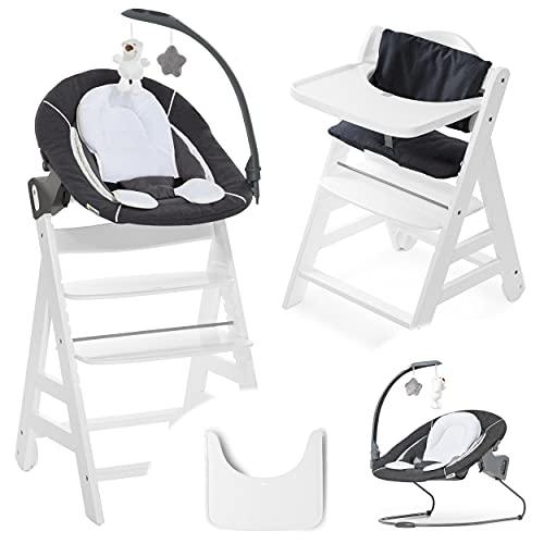 Hauck Beta Plus Newborn Set Deluxe - Seggiolone Pappa Legno, Seggiolone Evolutivo con Sdraietta Neonati - cuscino seduta, vassoio - grigio bianco