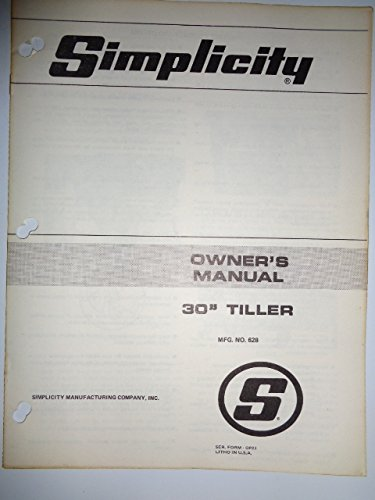 Simplicity Mfg. No. 628, 30' Tiller (for Lawn Tractors) Parts, Operators Owners Manual Original OP21