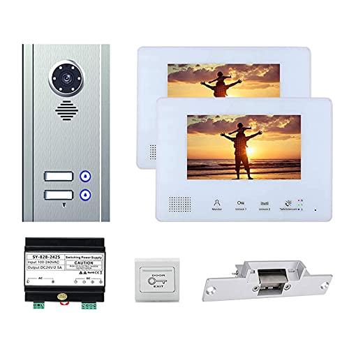 BJH Timbre con Video de 7 Pulgadas, videoportero para apartamento, teléfono, vigilancia de Seguridad para el hogar, intercomunicador, cámara + 2 s + Cerradura de Puerta