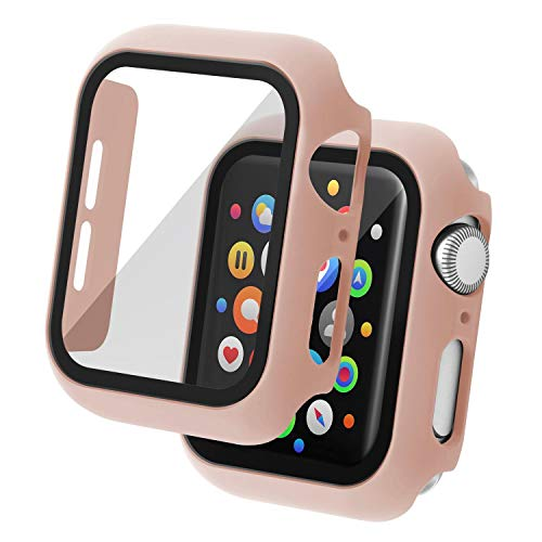 Insten Case Compatible with Apple Watch 44mm Series SE 6 5 4, Matte Hard Cover, Built in Tempered Glass Screen Protector, Full Protection, Pink