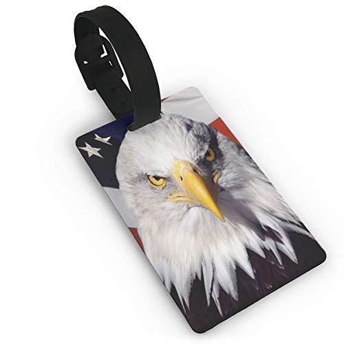 American Patriotic Eagle Etiquetas de equipaje Maleta Tarjeta de visita Tarjeta de identificación de viaje Paquete de etiquetas de bolsa, blanco (Negro) - Lg87pfb-24984607