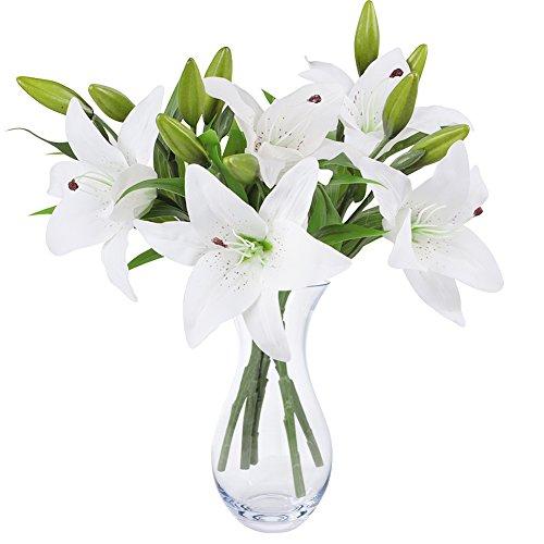 NNIUK Weiße Lilie Bush künstliche Blume, Lily Real Touch Lilien-Blumen-Blumenstrauß-Hochzeit/Graves/Vasen (5 Stück)