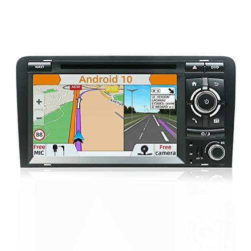 Android 8.1 Double DIN Autoradio pour Audi A3 2003–2011, autoradio avec en Dash GPS Système de Navigation , YUNTX véhicule Radio avec 7 pouces Tactile capacitif écran avec Gratuit Camera
