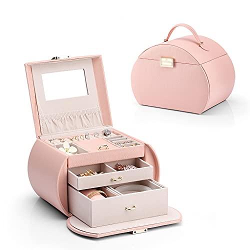 WQXD Caja de joyería de múltiples Capas con Caja de joyería de cajón para Pendientes Collares Anillos Regalos de cumpleaños Mujeres niña joyería Organizador (Color : Pink, tamaño : 9.1x6.3x6.7 Inch)