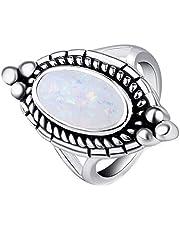 Onefeart Anillo de mujer de acero inoxidable oval Opal elíptico
