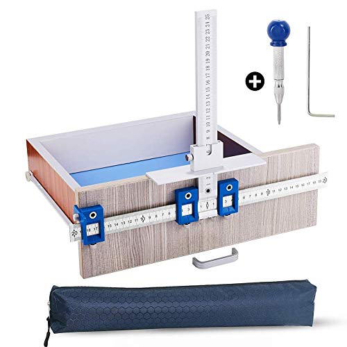 Cabinet Hardware Jig/Punch Locator Drill Guide Template Wood Drilling Dowelling for Installation of Handles, Knobs on Doors and Drawer Pull with Center Punch(Aluminum with Steel)