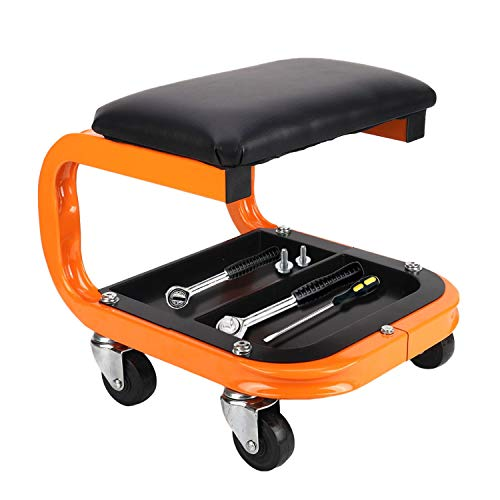 awagas Heavy Duty Rolling Creeper Garage Shop Seat Rolling Garage Stool Big Padded Seat Mechanic s Seat Creeper with Segmented Tool Tray Storage and 4 Rubber Swivel Casters - 400 Lb Capacity