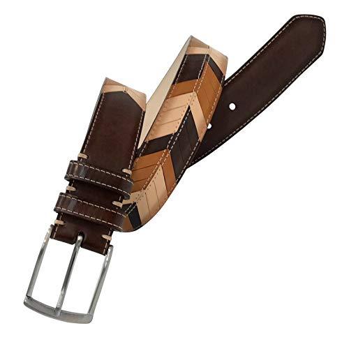 Leyva - Cinturón de piel de Vaqueta en 3 tonos de hombre...