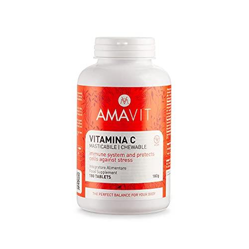 AMAVIT Vitamina C 500mg 180 Tabletas Masticables [6 meses de suministro] MADE IN ITALY Ácido Ascórbico para el Sistema Inmunológico | Vitaminas para el Cansancio | Sin Gluten ni Lactosa