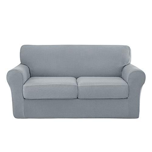 XDKS 4 fundas de sofá elásticas para 3 fundas de cojín, fundas de sofá, fundas de sofá, fundas de base y 3 fundas de cojín individuales (2 asientos, color gris claro)