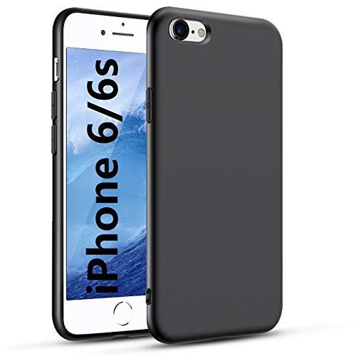 Carantee Hülle für iPhone 6/6s Handyhülle für iPhone 6/6s Schwarz Silikon Case, rutschfest Weiche, Stoßfest Handyhülle, Fallschutz für iPhone 6/6s Schutzhülle - Black
