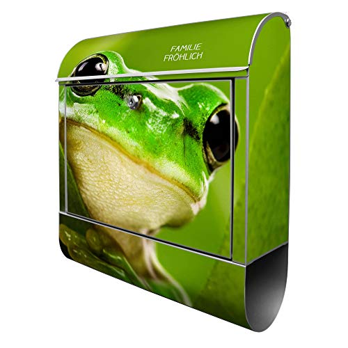 Banjado Design Briefkasten personalisiert mit Motiv Frosch   Stahl pulverbeschichtet mit Zeitungsrolle   Größe 39x47x14cm, 2 Schlüssel, A4 Einwurf, inkl. Montagematerial
