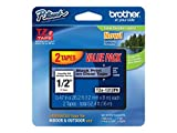 Brother Genuine P-touch TZE-1312PK Tape, 1/2' (0.47') Standard Laminated P-touch Tape, Black on Clear, Perfect for Indoor or Outdoor Use, Water Resistant, 26.2 Feet (8M) each, Two-Pack