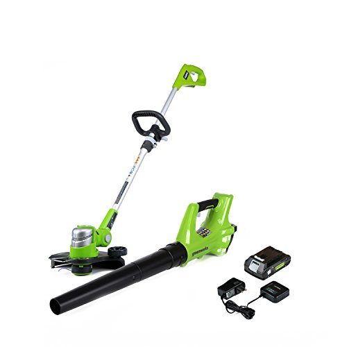 Greenworks 24V Cordless String Trimmer and Blower Combo Pack, 2Ah Battery and Charger Included STBA24B210