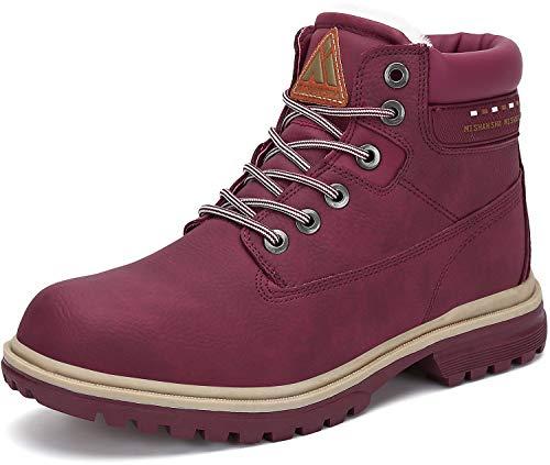 Mishansha Ocieplane buty zimowe męskie ciepłe buty zimowe damskie buty zimowe wodoszczelne buty śnieżne rozm. 36-48, czerwony - czerwone wino - 38 EU
